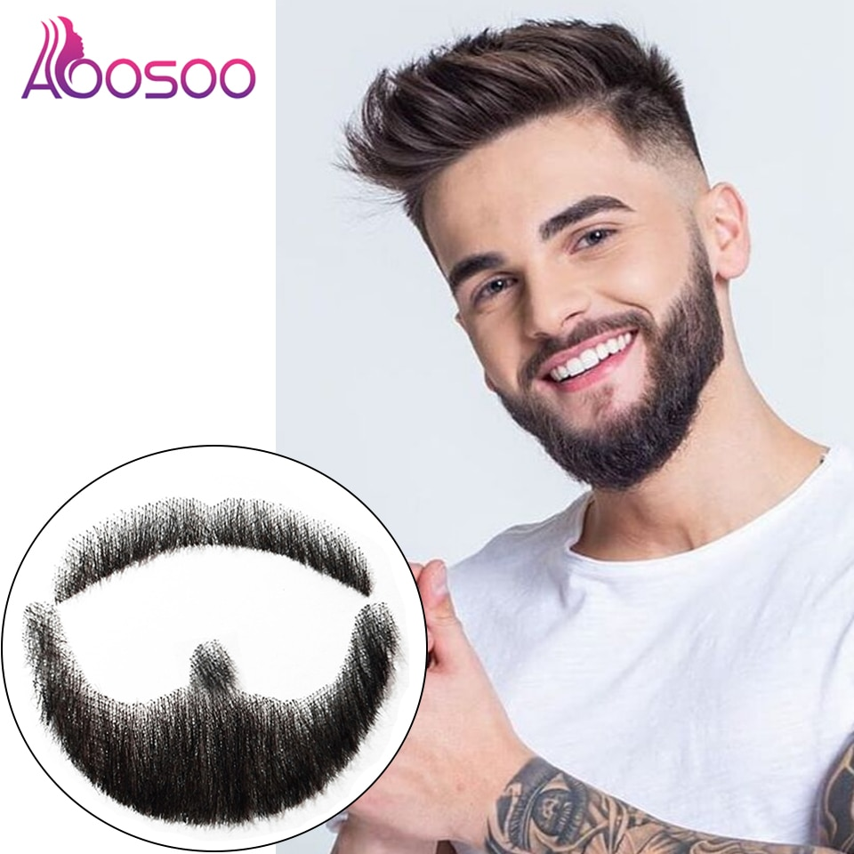 AOOSOO Fake Mustache In Daily Life Video Film Television Production Lace Man Hair Wig Handmade Fake Beard
