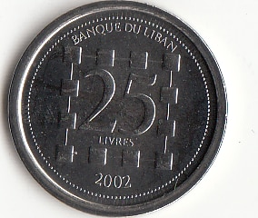 Lebanon 25 Livres 2002 Edition Coins Asia New Original Coin Unc Collectible Edition Real Rare Commemorative