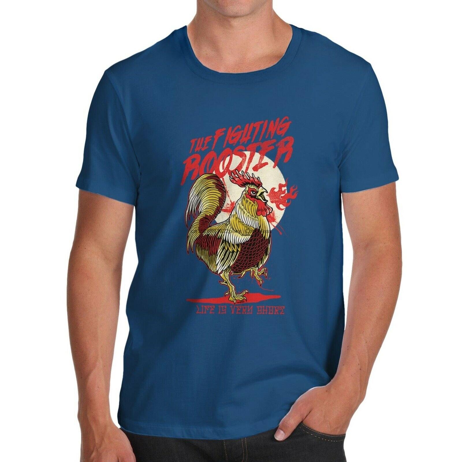 Camiseta de slogan curto de vida de galo de algodão premium masculino