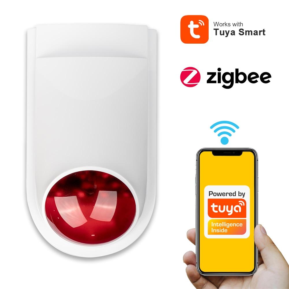 Умный звуковой стробоскоп Tuya Zigbee, звуковой сигнал, сирена, сигнализация, 100 дБ, вспышка, беспроводные GSM-лампы, грабитель