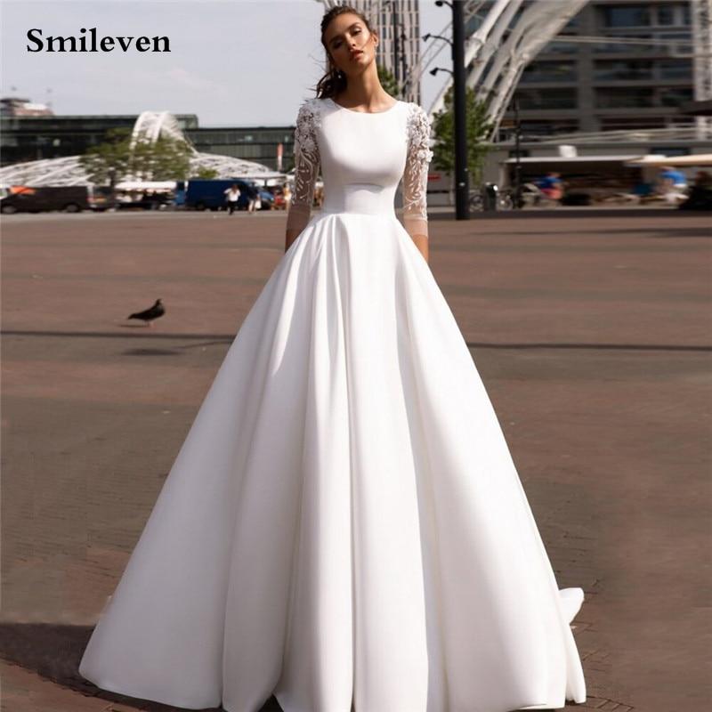 Женское атласное платье Smileven, элегантное мусульманское свадебное платье с рукавом 3/4 и объемным цветком, с закрытой спиной, 2021