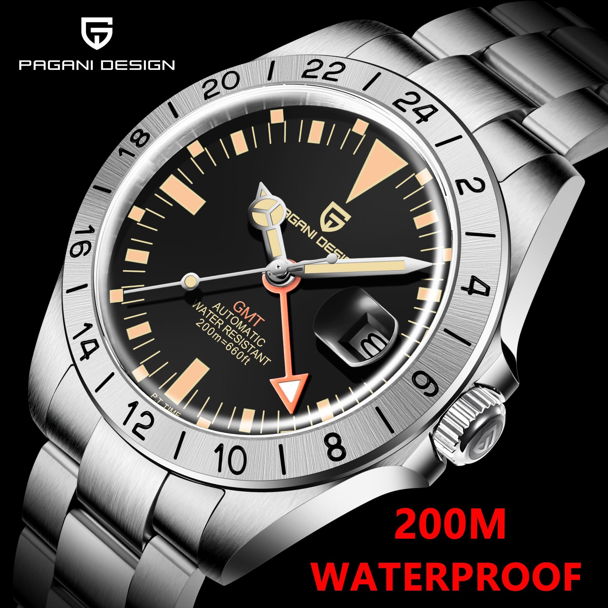 2021 جديد PAGANI تصميم الرجال الفاخرة التلقائي GMT ساعة ميكانيكية ريترو كلاسيكي للرجال 200 متر مقاوم للماء ساعة Relogio Masculino