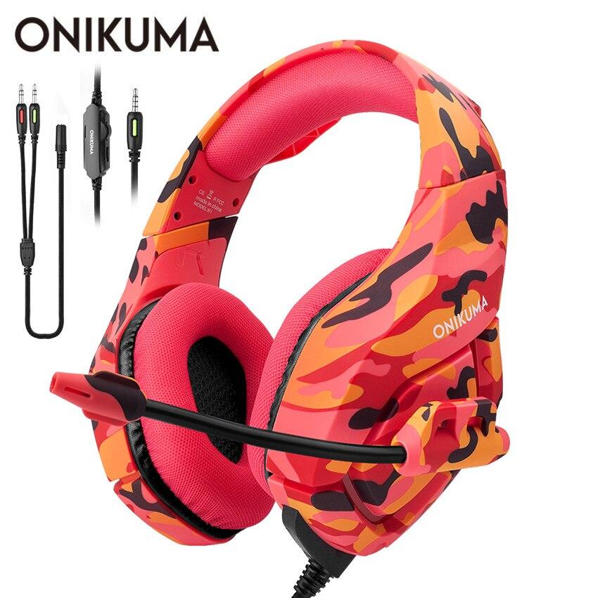 ONIKUMA K1 шлем PS4 игровая гарнитура с микрофоном камуфляжные шумоподавляющие наушники для ПК сотового телефона Новый Xbox One ноутбук