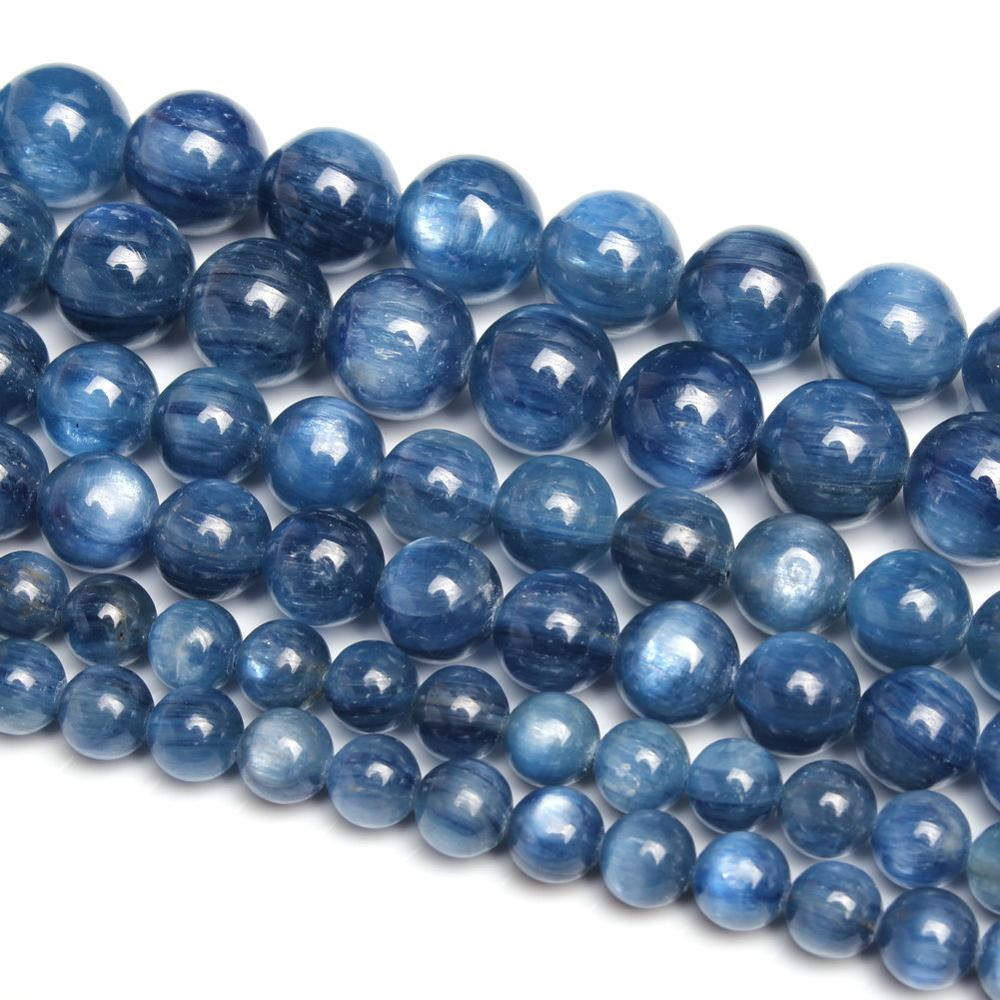 Natural Round Kyanite Gemstone Loose Beads 4 6 8 10 12mm For Necklace Bracelet DIY Jewelry Making 15inch Strand
