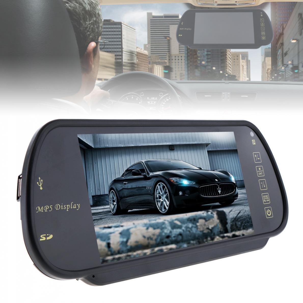 TFT de 7 pulgadas en Color LCD espejo retrovisor del coche Monitor Auto vehículo aparcamiento copia de seguridad reversa soporte de Monitor SD / USB