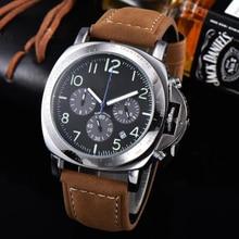 Top Luxury Brand Sport Wrist Watch Fashion Mens Watches Chronograph Quartz Military Genuine Leather