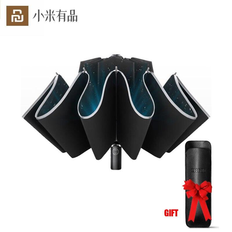 Youpin Zuodu Automatic Reverse Umbrellas Reflective Strip Foldable Men Women Portable Windproof Anti-UV With LED Lights Umbrella