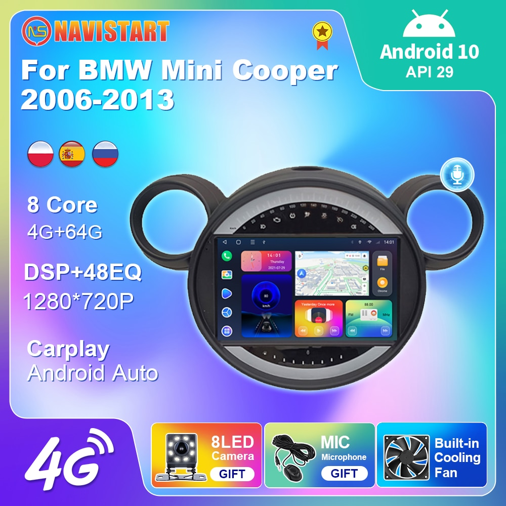For BMW Mini Cooper 2006-2013 Android 10.0 GPS Car Radio Multimedia Player DSP Carplay Stereo Record