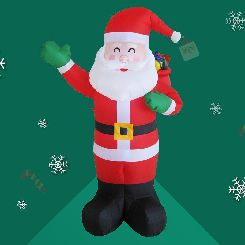 1.8m Inflatable Santa Claus LED Light Up Decor Outdoor Holiday Decoration Christmas Inflatable Doll LED Night Light Outdoor