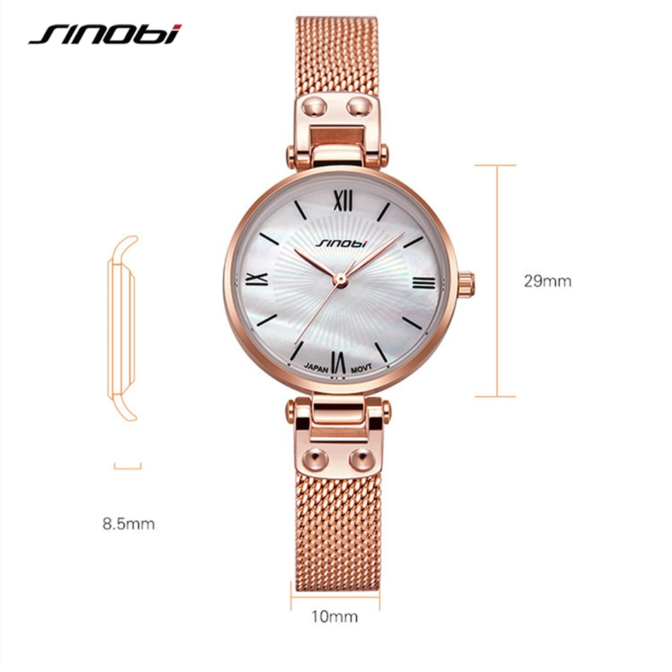 SINOBI Luxury Women Watches Fashion Shell Dial Gold Steel Mesh Strap Watch Japan Quartz Movement Clock Reloj Mujer Montres Femme enlarge
