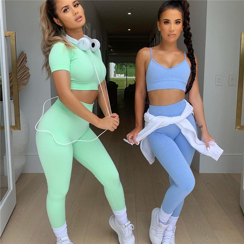 2021 Seamless 2/4pcs Gym Set Crop Top Sports Bra High Waist Leggings Shorts Yoga Set Women Tracksuit Fitness Sport Workout Suits