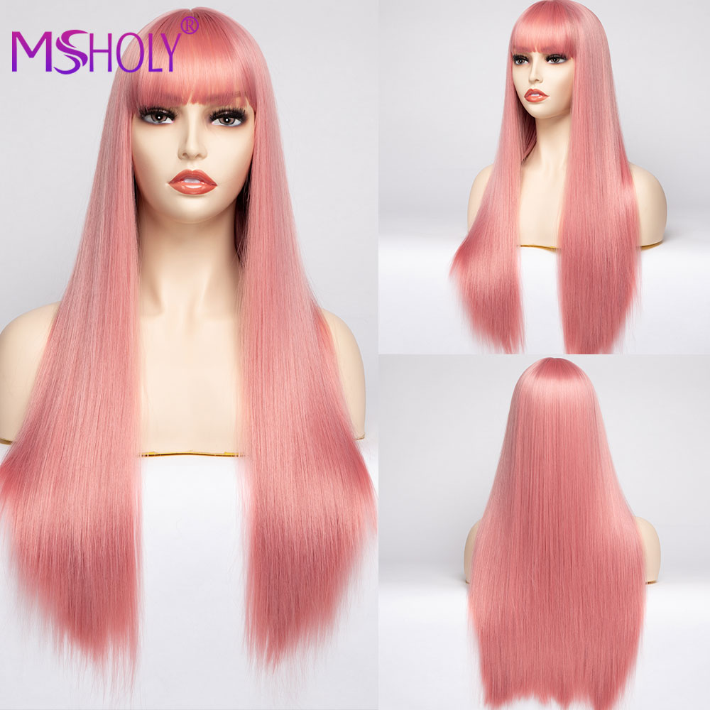 Pink Wig With Bangs Gray Black Synthetic Wigs for Black White Women Cosplay Long Straight Wig Afro Heat Resistant Fibre Msholy