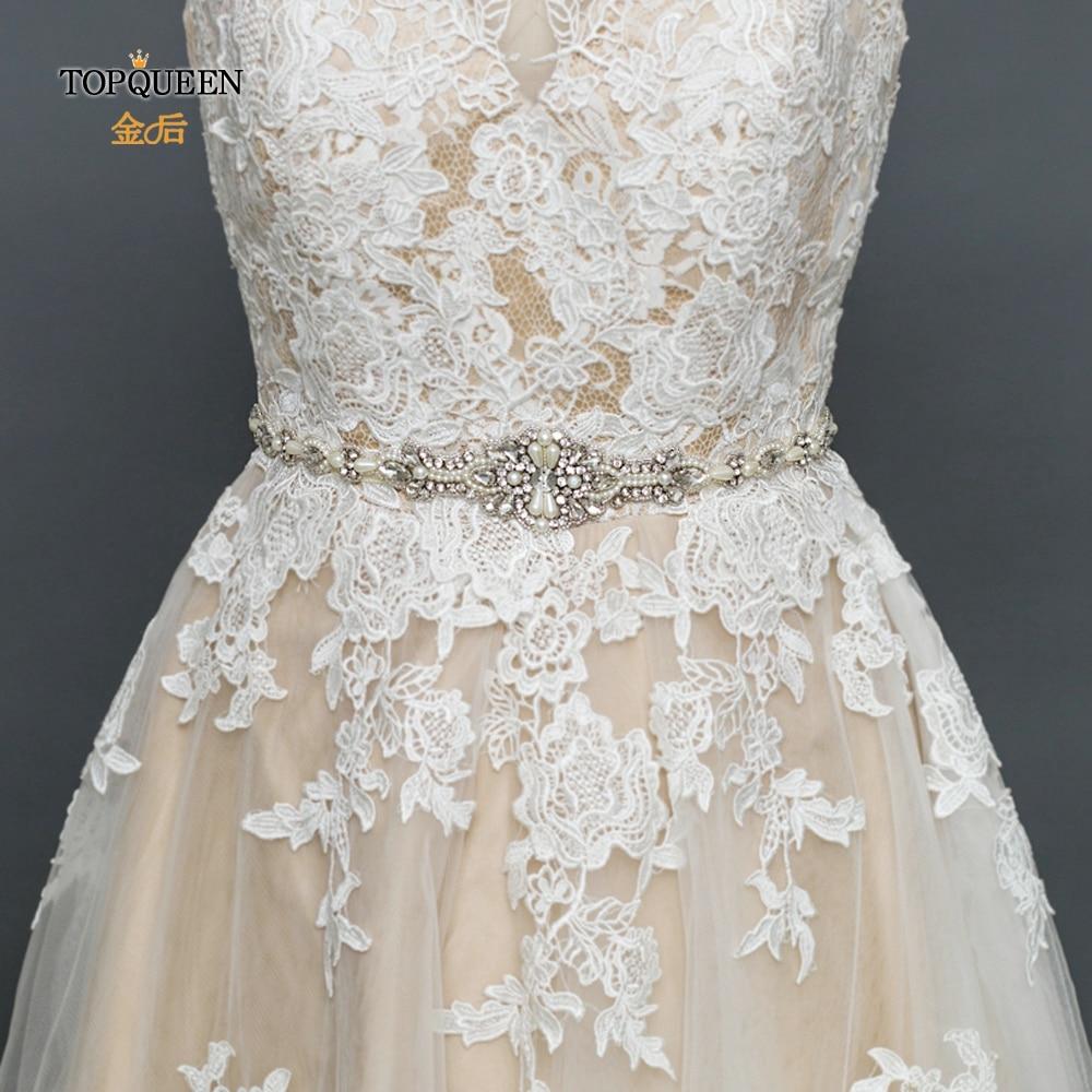 TOPQUEEN S388 cinturones de boda con perlas cinturones de mujer con pedrería cinturón de cuentas apliques de novia dama de honor cinturón de Cristal