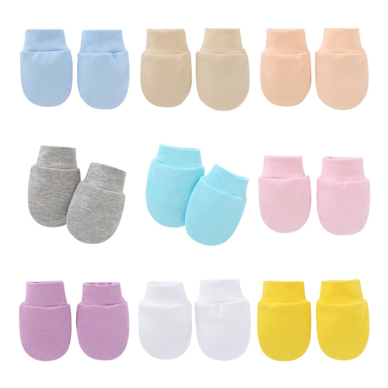 Baby Anti Scratching Soft Cotton Gloves Newborn Protection Face Scratch Mittens A2UB