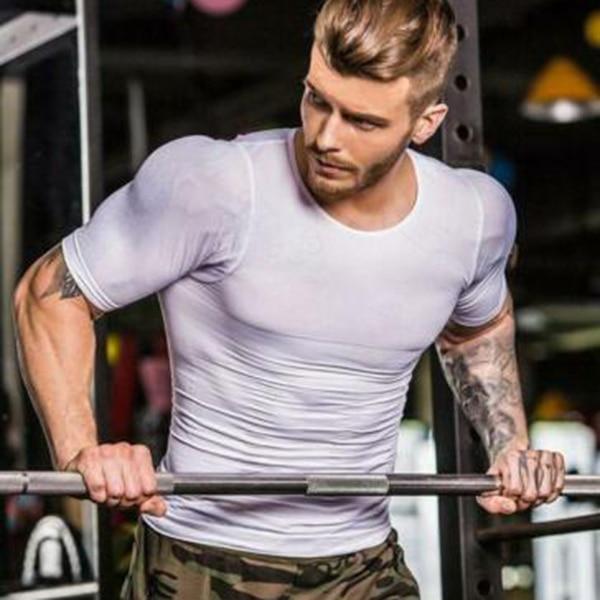 Men Body Build Compression Shirt Top T-shirt Short Sleeve Round Collar Shaper for Summer BMF88
