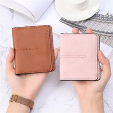 Unisex Short Wallet ID Credit Bank Name Business Card Holder Case PU Leather Coin Purse Students Wom