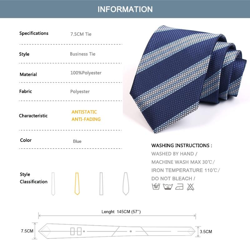 2020 New Men's 7.5CM Wide Tie High Quality Fashion Formal Tie For Men Business Suit Work Necktie Blue Striped Neck Tie Gift Box