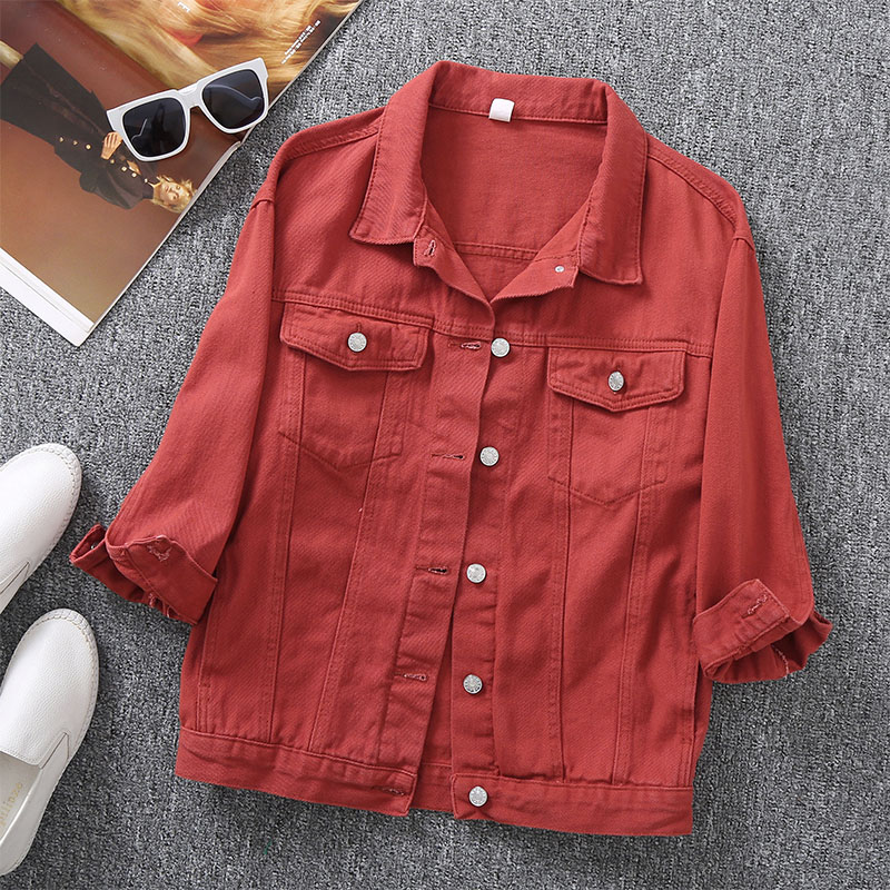 Куртка женская джинсовая в стиле оверсайз с отложным воротником, повседневная короткая верхняя одежда из денима, карамельных цветов, с длин...