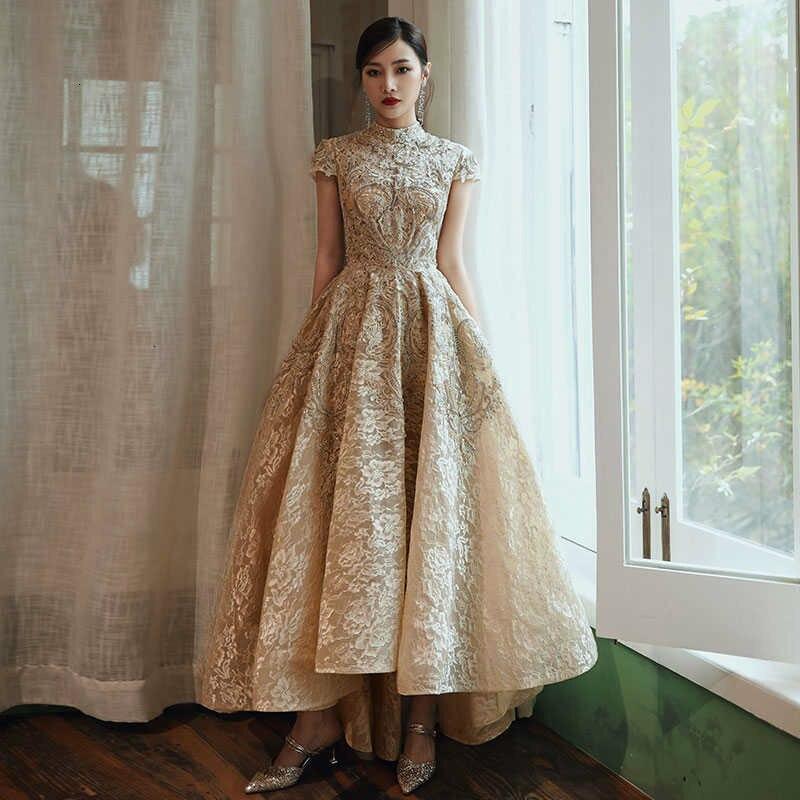 Wearing Asymmetric Evening Dress Gold High Collar 2019 Short Sleeve Lace Dress Evening Dress фото