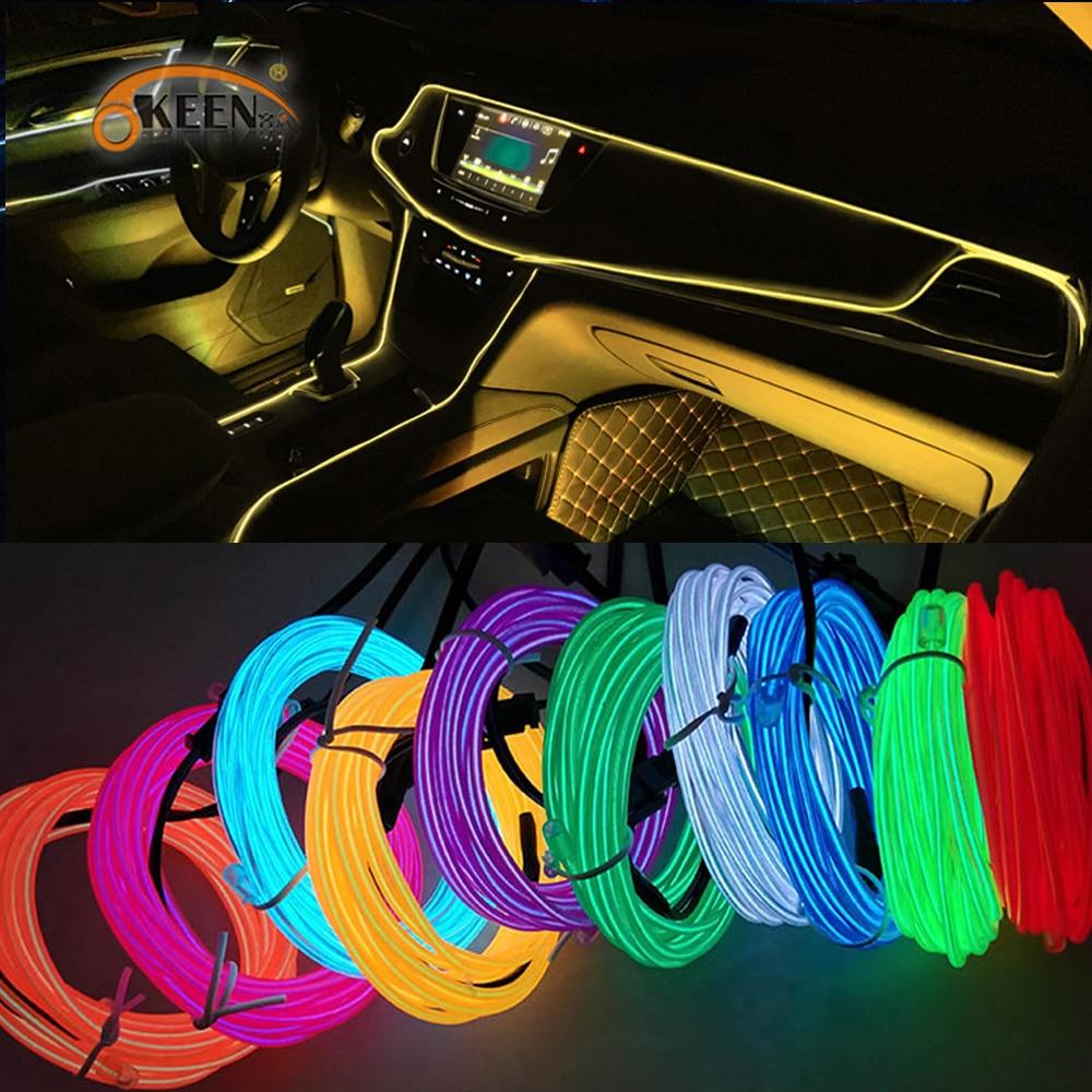 Okeen 1m/2m/3m/5m Neon LED Car Interior Lighting Strips Auto LED Strip Garland EL Wire Rope Car Deco