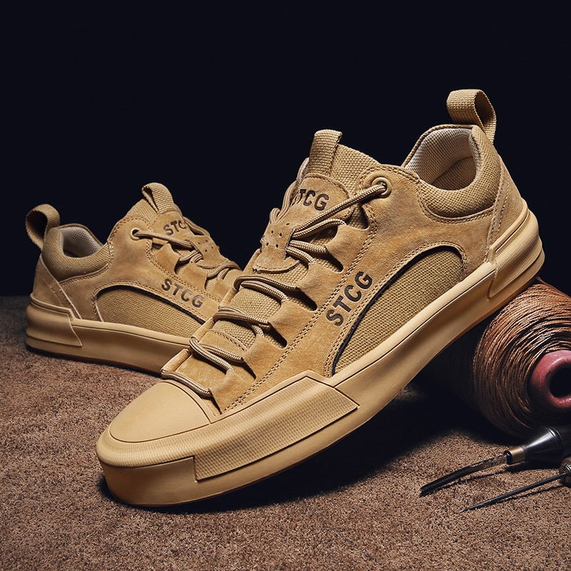 Fashion Men Sneakers High Quality Cow Suede Shoes Men Lace-up Outdoor Light Comfortable Men's Casual
