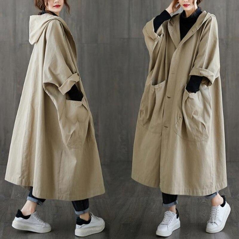 Женская Длинная ветровка с капюшоном, черная Повседневная хлопковая Свободная куртка с карманами, верхняя одежда большого размера на весну...