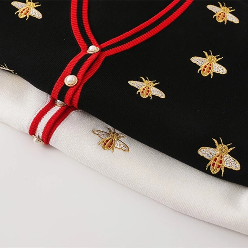 OIMG High Quality Fashion Designer Embroidery Cardigan Long Sleeve Single Breasted Knitted Sweater Cropped Cardigan enlarge