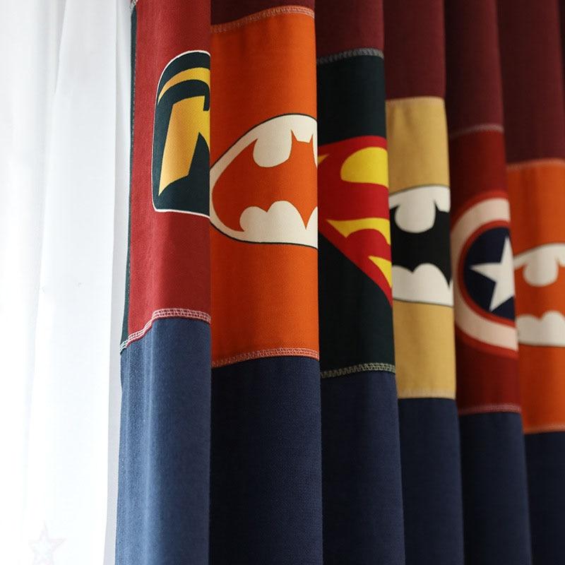 Cortina con costura azul para habitación de niños, cortina Blackout Captain de dibujos animados para sala de estar, cortina Tela Natural X240 #40