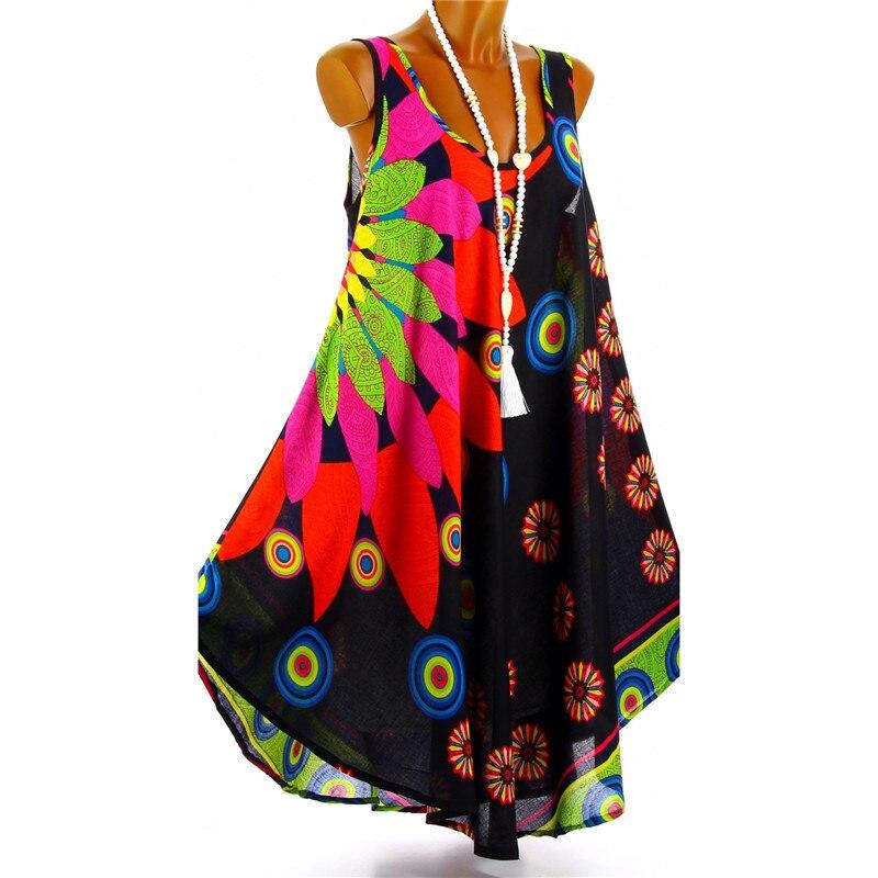 ¡Novedad de 2020! Vestido de fiesta con estampado de cuello redondo sin mangas de Doho a la moda de verano para mujer, vestidos asimétricos de chifón sueltos e informales