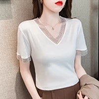 summer new fashion korean women t shirt short sleeve v neck slim thin cotton casual tee t shirt female patchwork hollow out top