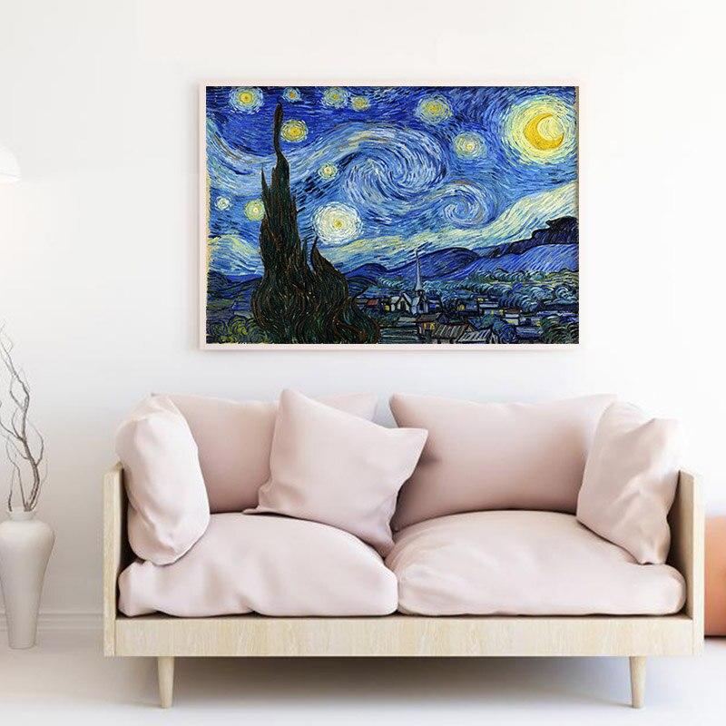 Cartel de lienzo abstracto Van Gogh paisaje nocturno estrellado famoso arte clásico de la pared impresión imagen decorativa decoración moderna del hogar