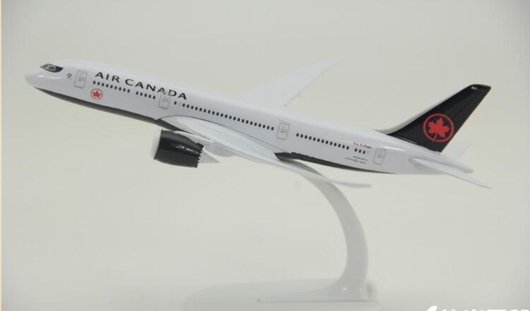 Maqueta de avión de metal 20cm Black Air Canada Airlines B787 Boeing 787 Airways modelo W soporte avión regalo