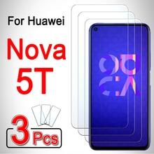 Para huawei nova 5 t protector de pantalla película cubierta de teléfono 5 t t5 blindado huwei hawei huawey 1-3 uds huawei nova 5 t vidrio