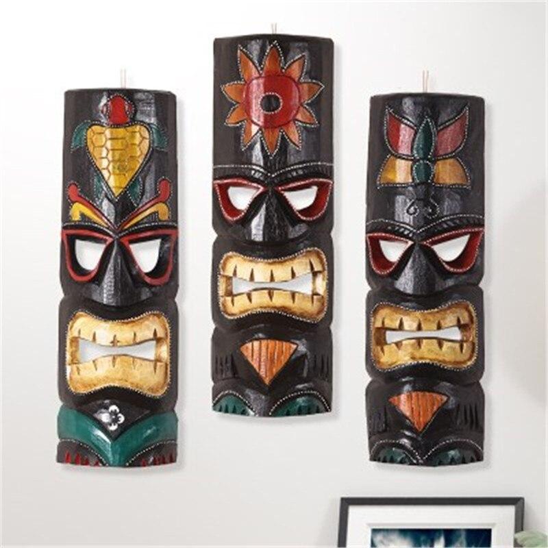 Máscaras AFICAN de estilo asiático, colgante BALI tallado en madera, Fondo de restaurante, decoración del hogar, BAR, colgantes de pared A1732