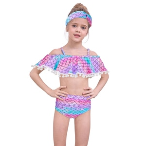 2020 Summer Mermaid Split Swimsuits Headband for Baby Girls 3 Colors Bathing Girl Bikini Suits Children Beach Swimwear Bodysuit