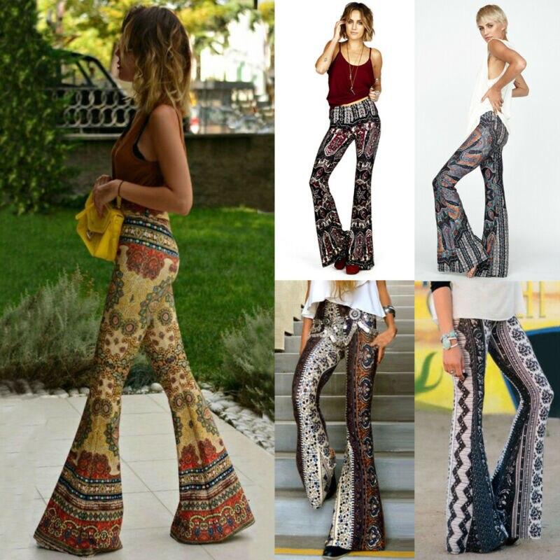 Женские свободные широкие брюки-клеш колокол с высокой талией Boho Hippie