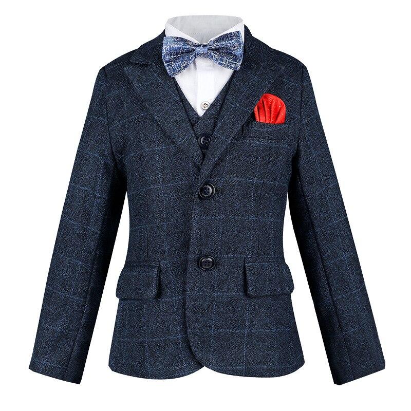 Boy Overweight Plaid Suit Jacket Kids Plus Size Clothes Sets Child Formal Dress Suits Teens Blazer BowTie Vest Pants Costumes enlarge