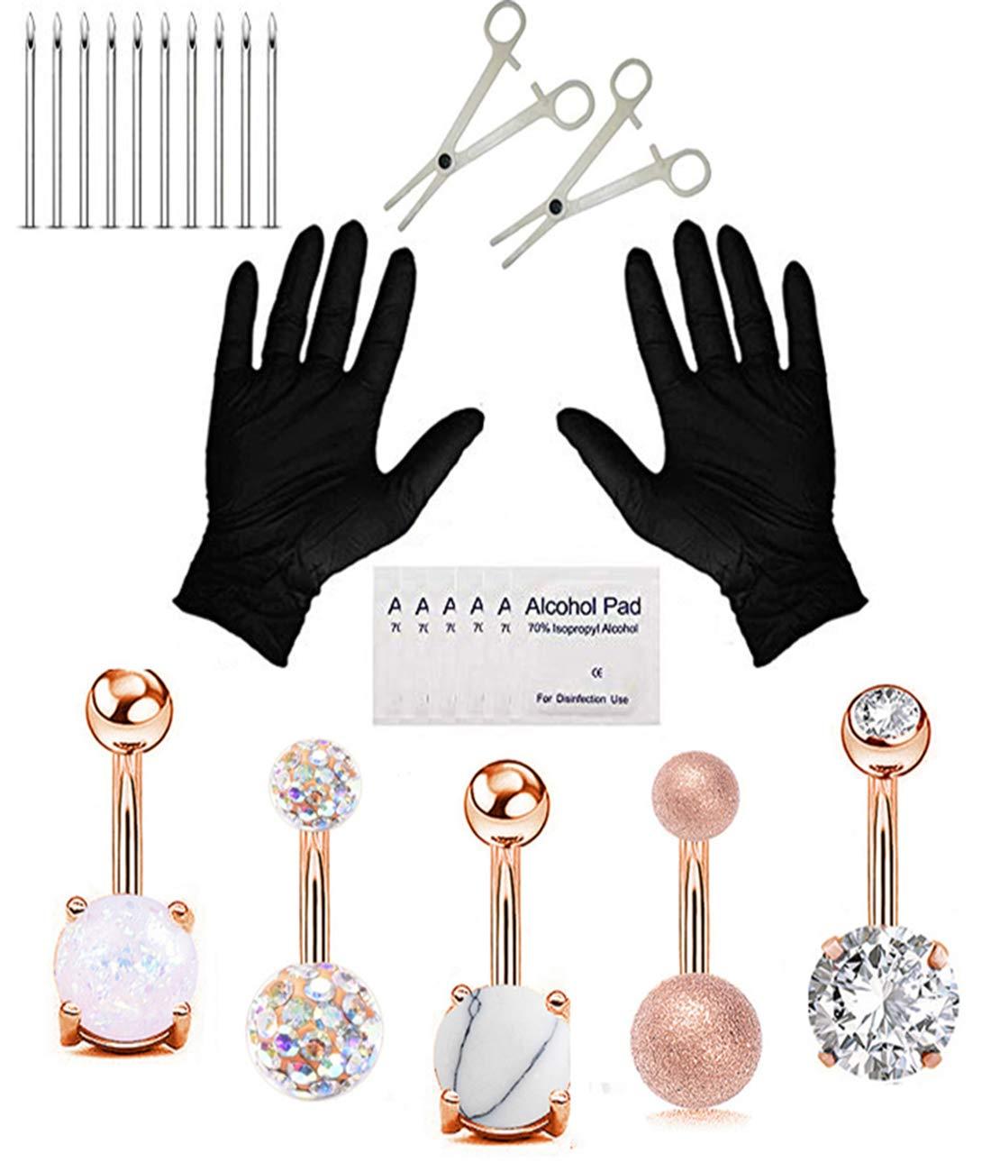 20Pcs Professional Piercing Kit Multicolor Steel 14G CZ Belly Navel Ring Body Piercing Needles Set Piercing Tool Supplies