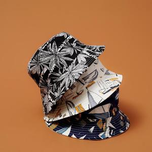 Women's Hat Bucket Hats Summer Japanese Art Fisherman Hat Sunscreen Unisex Foldable Double Basin Hat