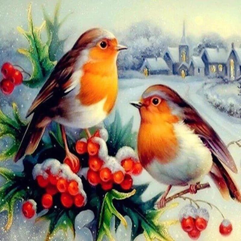 Diamant Malerei 5D Kreuz Stich Voll Platz Rahmenlose Aquarell Winter Robin Diamant Mosaik Vogel Tier Wohnkultur