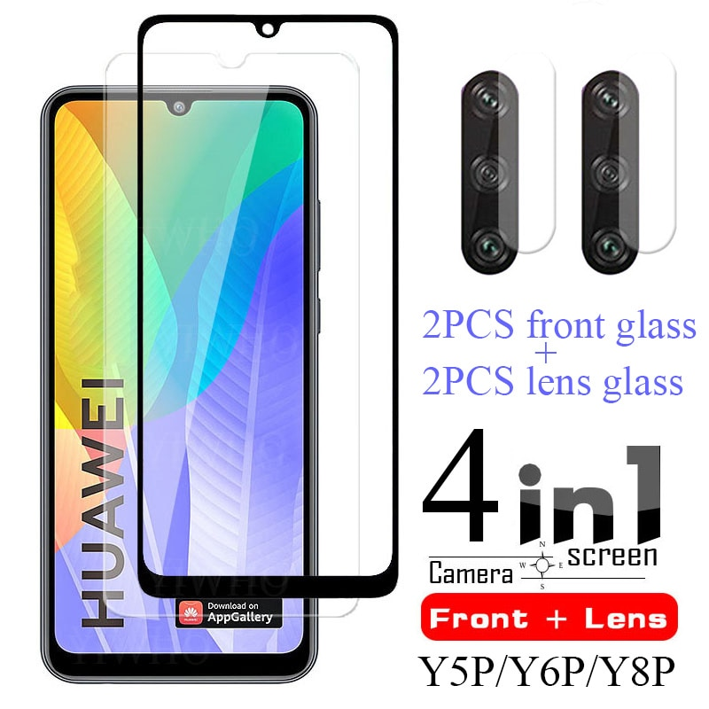 4 In 1 Protective Glass on for Huawei Y6p Screen Protector Tempered Huwei Y5p Y7p Y6s Y8s Y 5p 6p 7p 8s Camera Lens Film Case