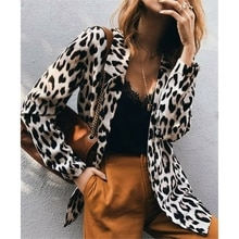 S-3XL Sexy OL Womens Leopard Print Long Blazers Long Sleeve Coat Jacket Ladies Autumn Cardigan Outwe