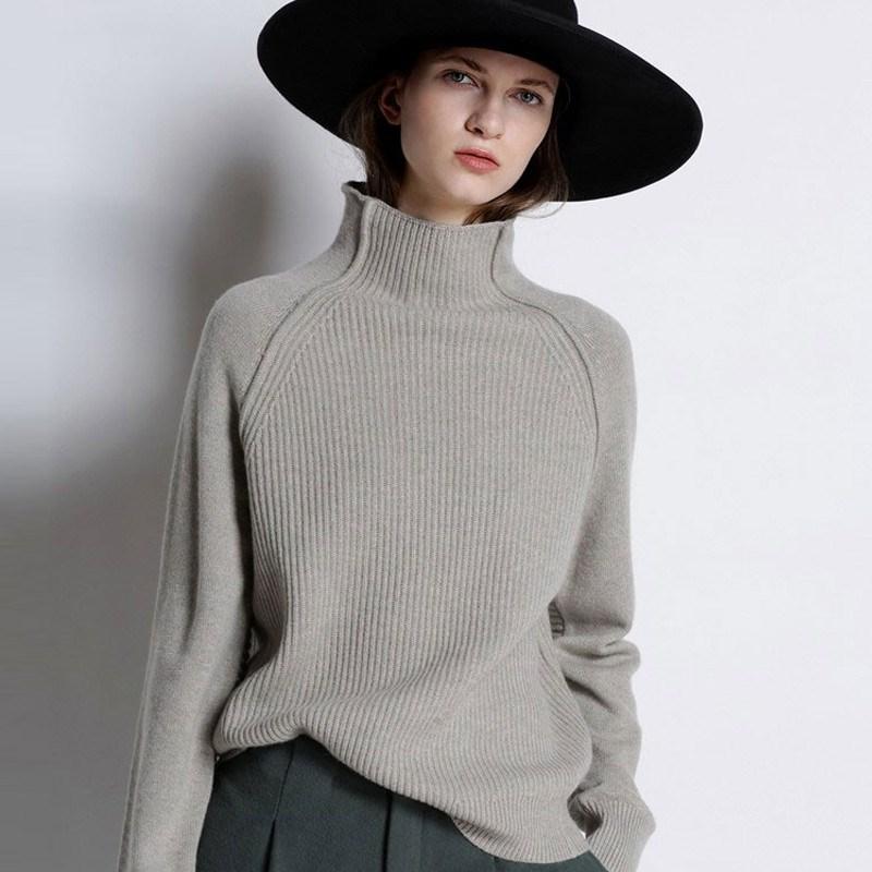 DY 2021 جديد الخريف الشتاء فتاة ملابس النساء عالية طوق سميكة البلوز سترة فضفاضة كبيرة الحجم محبوك الصوف قميص