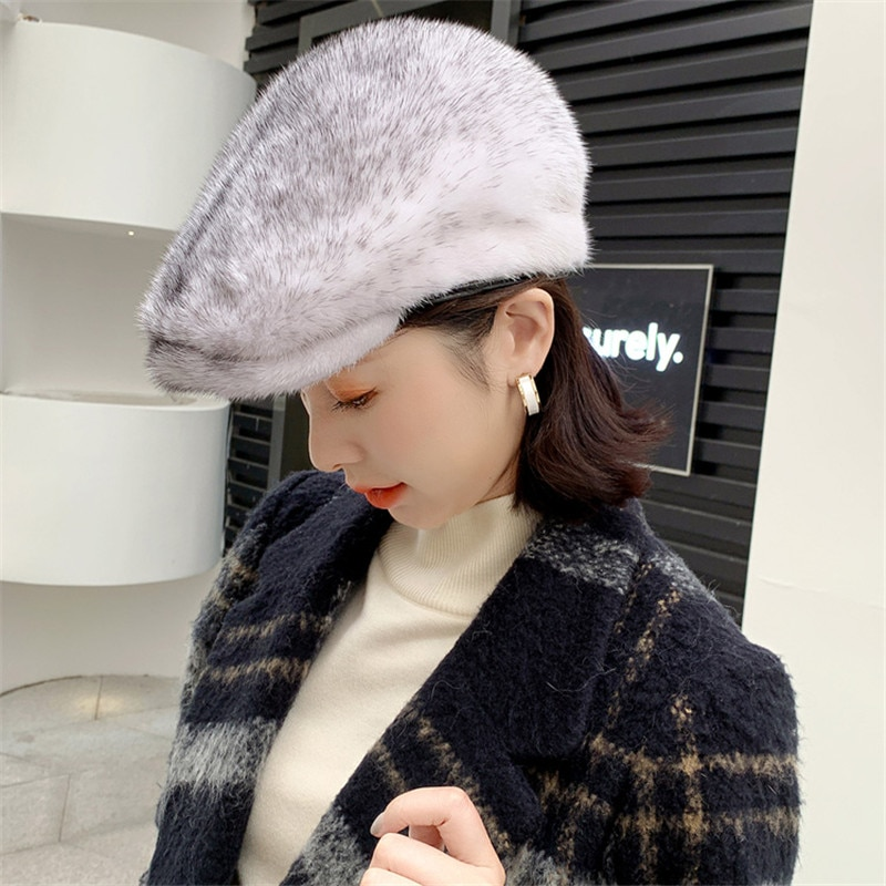 2021 New Ladies Winter Fashion Warm All-Match Fur Beret Full Mink Soft Neutral Casual Pure Color Ladies Fur Hat