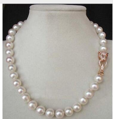 "¡Maravilloso! 18 ""10 MM blanco Mar del Sur Concha AKOYA collar de perlas naturales joyas de plata"