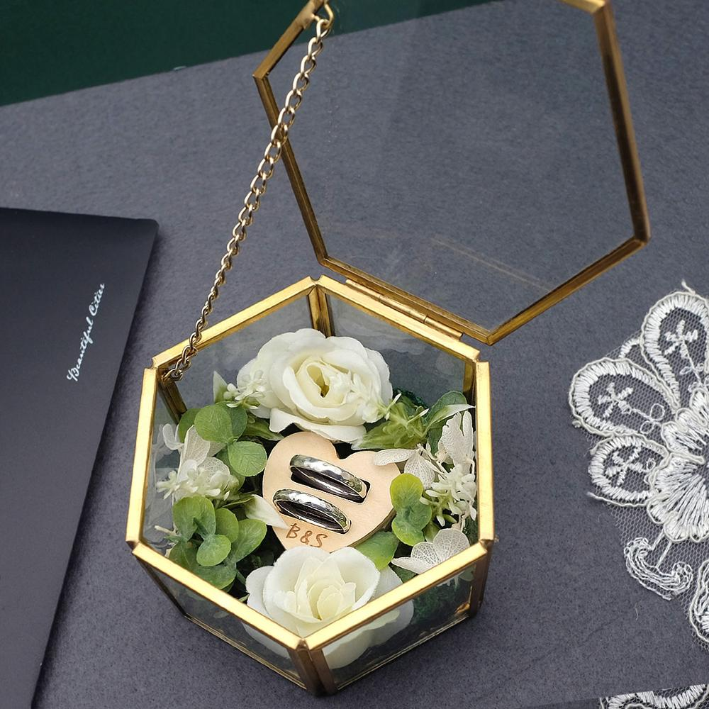 aliexpress.com - Wedding Ring Box,Engagement Ring Box,Hexagon Gold Glass Ring Box,Personalized Ring Pillow,Antiqued Flower Glass Ring Box