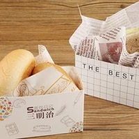 50pcs cake packaging bagsandwich wrapping paper thick egg toast bread breakfast packaging box burger oil paper paper tray