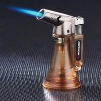 visible gas turbine torch lighter butane jet lighter spray gun metal fireproof windproof lighter 1300c cigarette accessories man