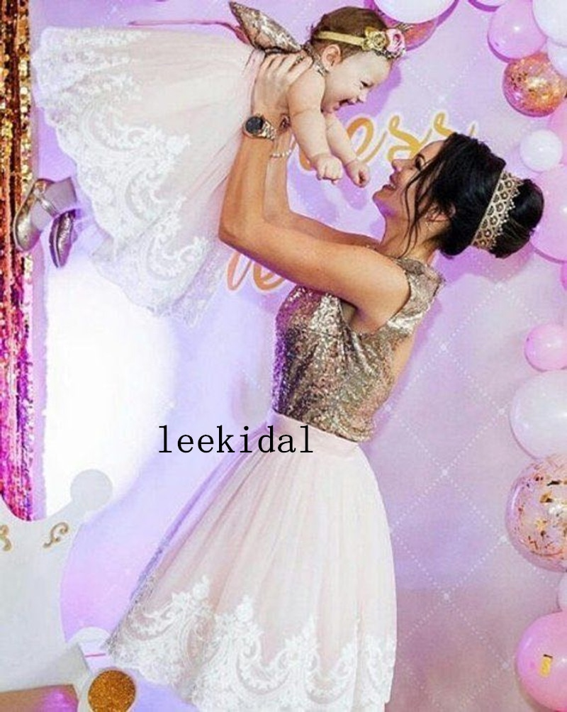 Sparkly Mother Daugher Knee Length Dresses Elegant Mom Kid Sparky Matching Birthday Photography Dresses Custom enlarge