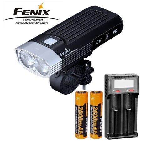 Fenix bc30v2.0 luz 2200 lúmen fio sem fio controlado bicicleta lâmpada + fenix d2 carregador fenix 2x2600mah bateria